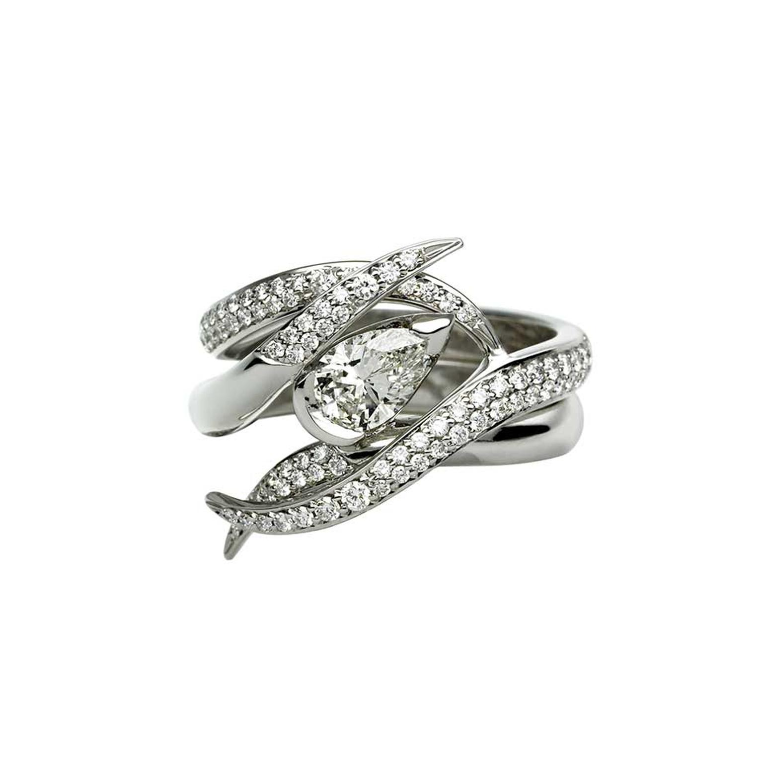 Shaune Leane white gold and diamond Ariana engagement ring and wedding band set (£7,550).
