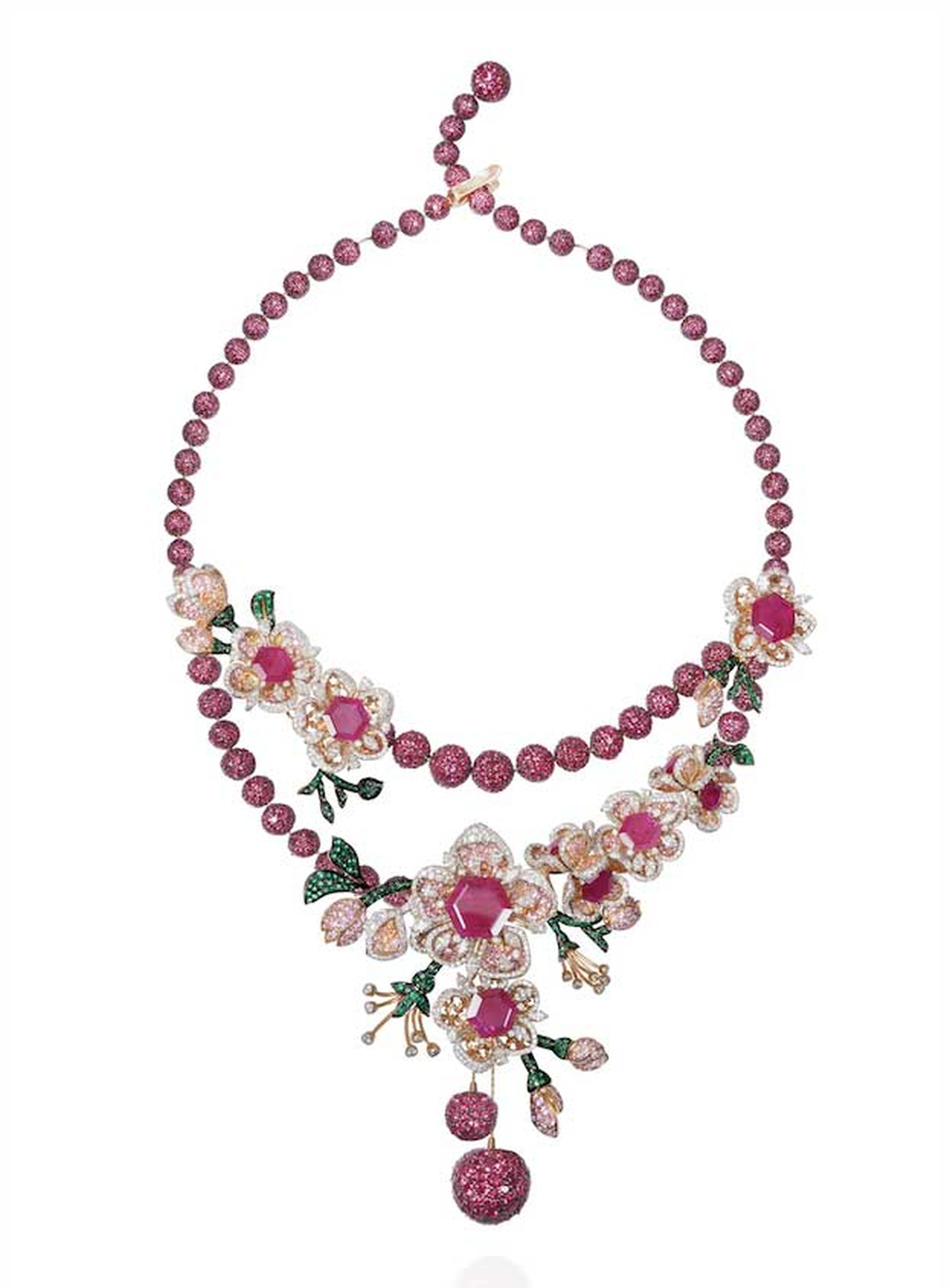 Lot 6, a Gemfields Mozambican ruby, Gemfields Zambian emerald, diamond, pink sapphire and orange sapphire necklace by Mirari, to be auctioned as part of a suite (estimate: INR 3,600,000 - 4,350,000; $60,000 - 73,000)
