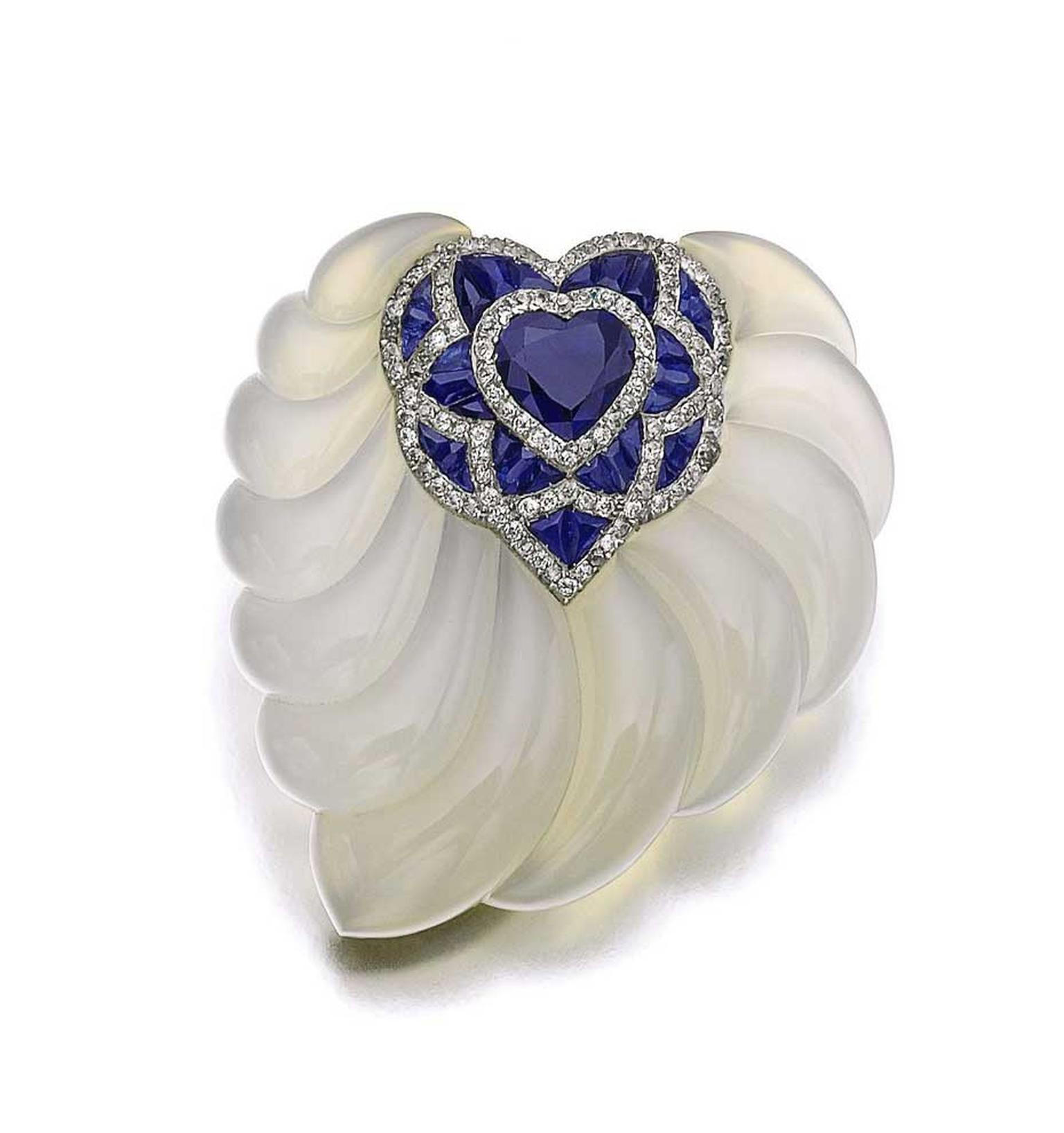 Suzanne Belperron Chalcedony sapphire and diamond brooch (estimate: CHF 22,000 - 28,000/$24,920 - 31,716)