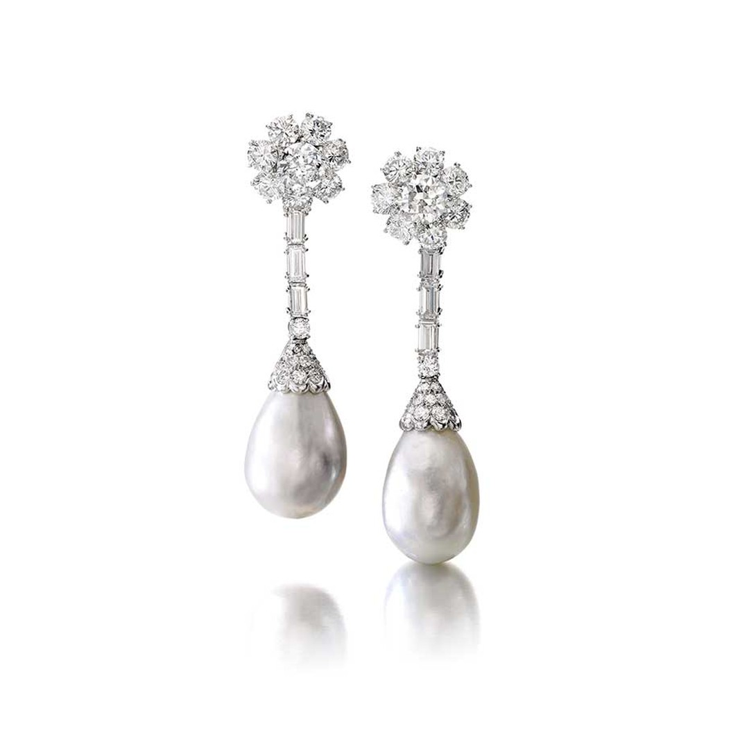 Pair of natural pearl and diamond pendant earrings (estimate: CHF 315,000 - 490,000/$355,522 - 553,034)