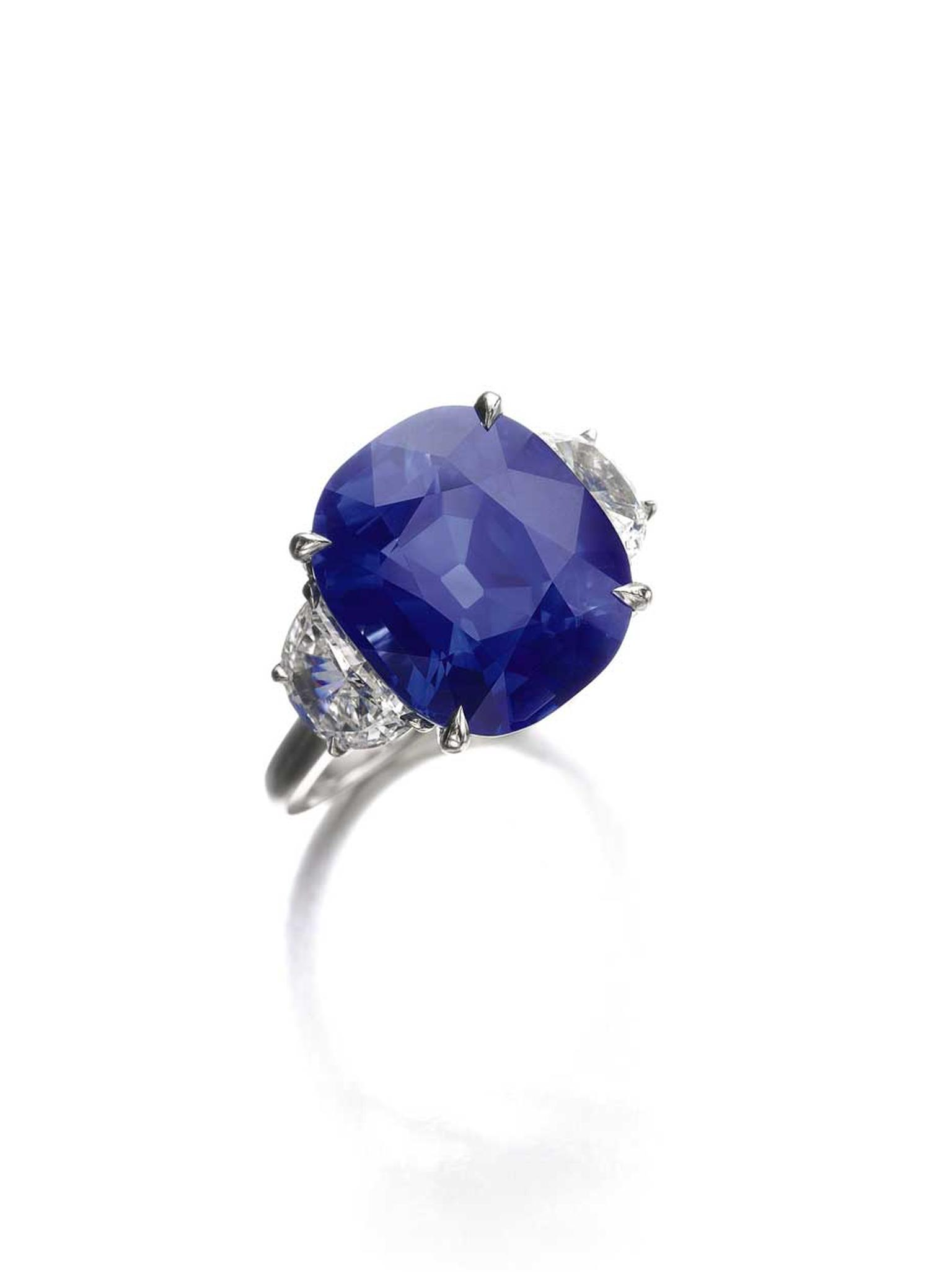 10.96ct cushion-shaped Kashmir sapphire ring between two demi-lune diamond shoulders. Sold for CHF 1,600,000 (estimate: CHF 1,100,000 - 1,400,000)