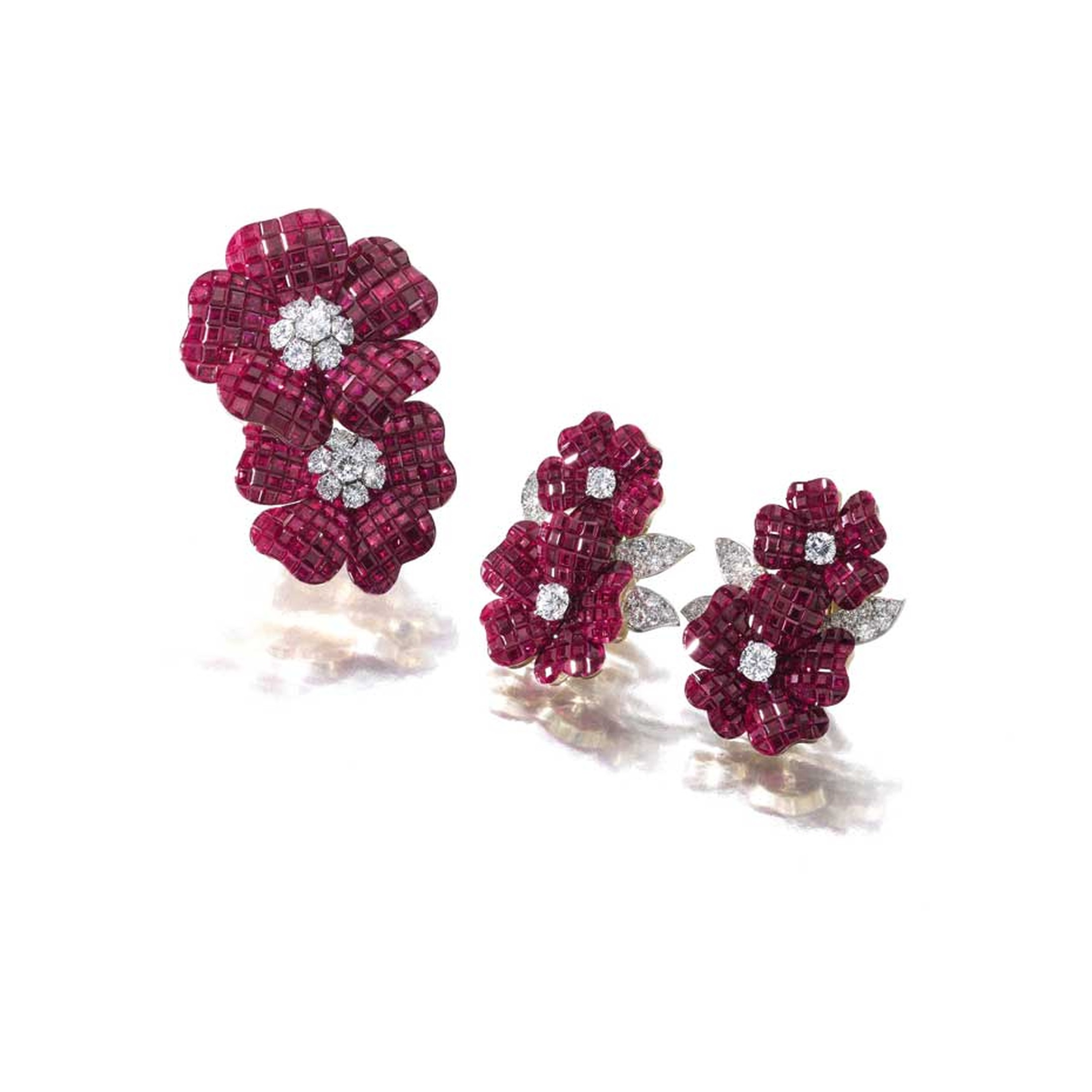 Van Cleef & Arpels ruby and diamond brooch and matching ear clips (brooch estimate: CHF 135,000 - 225,000/$150,000 - 250,000; ear clips estimate: CHF135,000 - 225,000/$150,000 - 250,000)