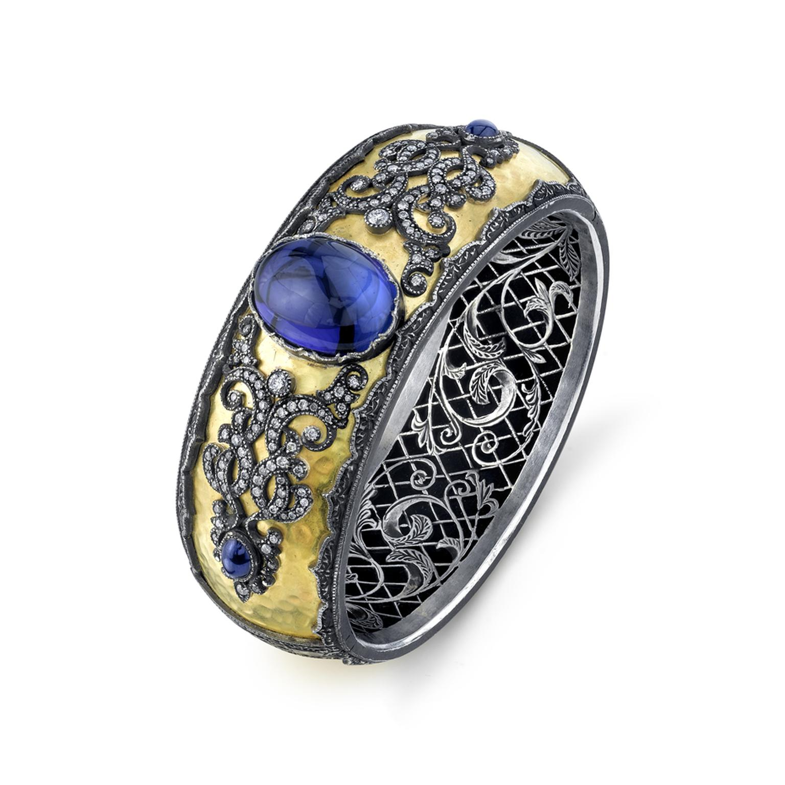 Arman Sarkisyan gold cuff with tanzanite, diamonds and oxidised silver