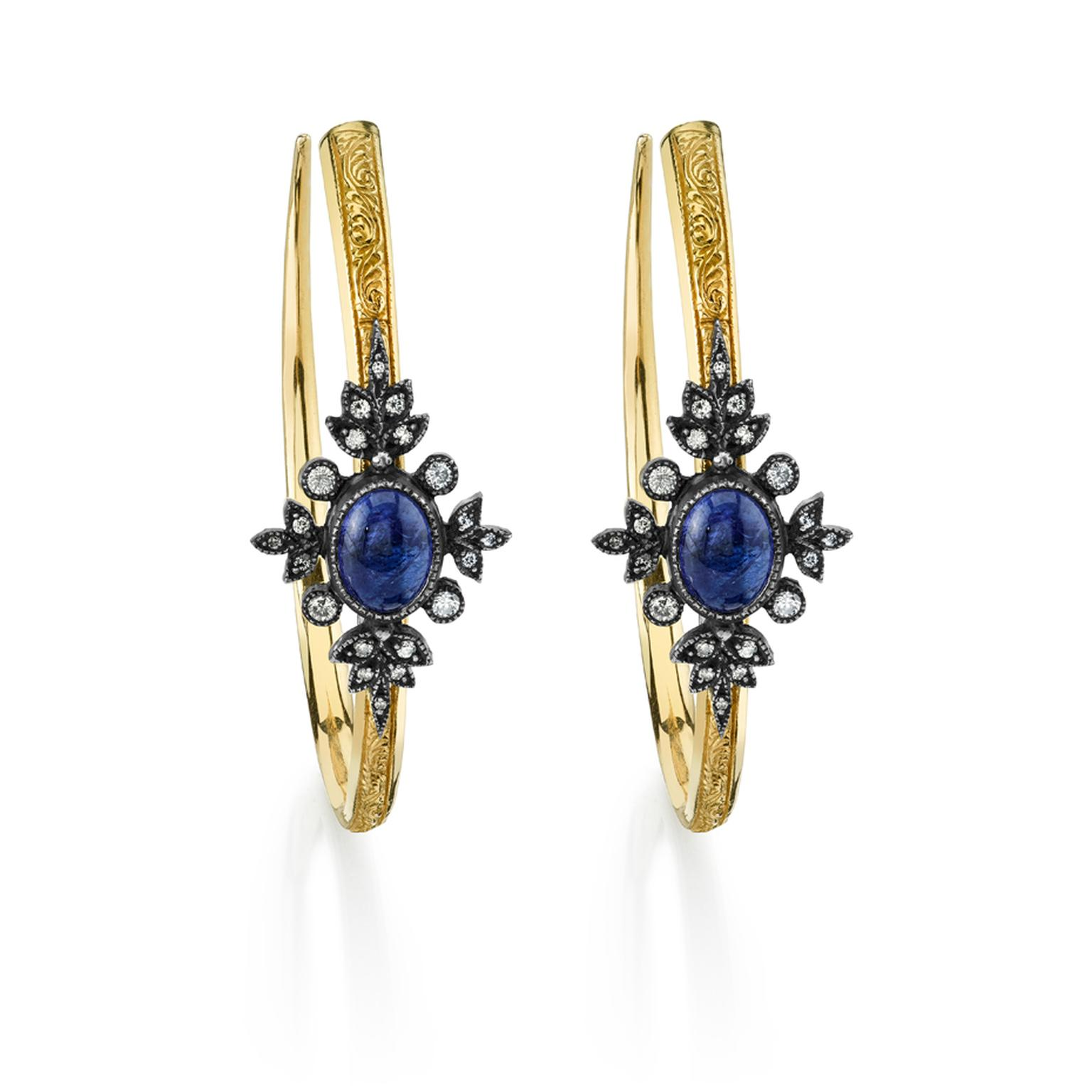 Arman Sarkisyan gold hoop earrings with tanzanite, diamonds and oxidised silver