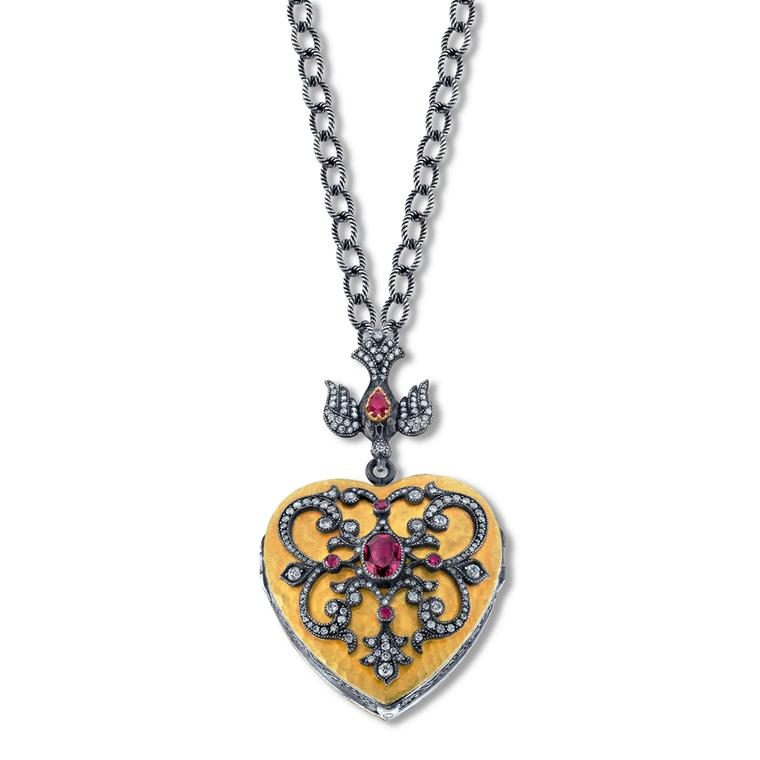 Arman Sarkisyan Heart locket with rubellites, diamonds and oxidised silver