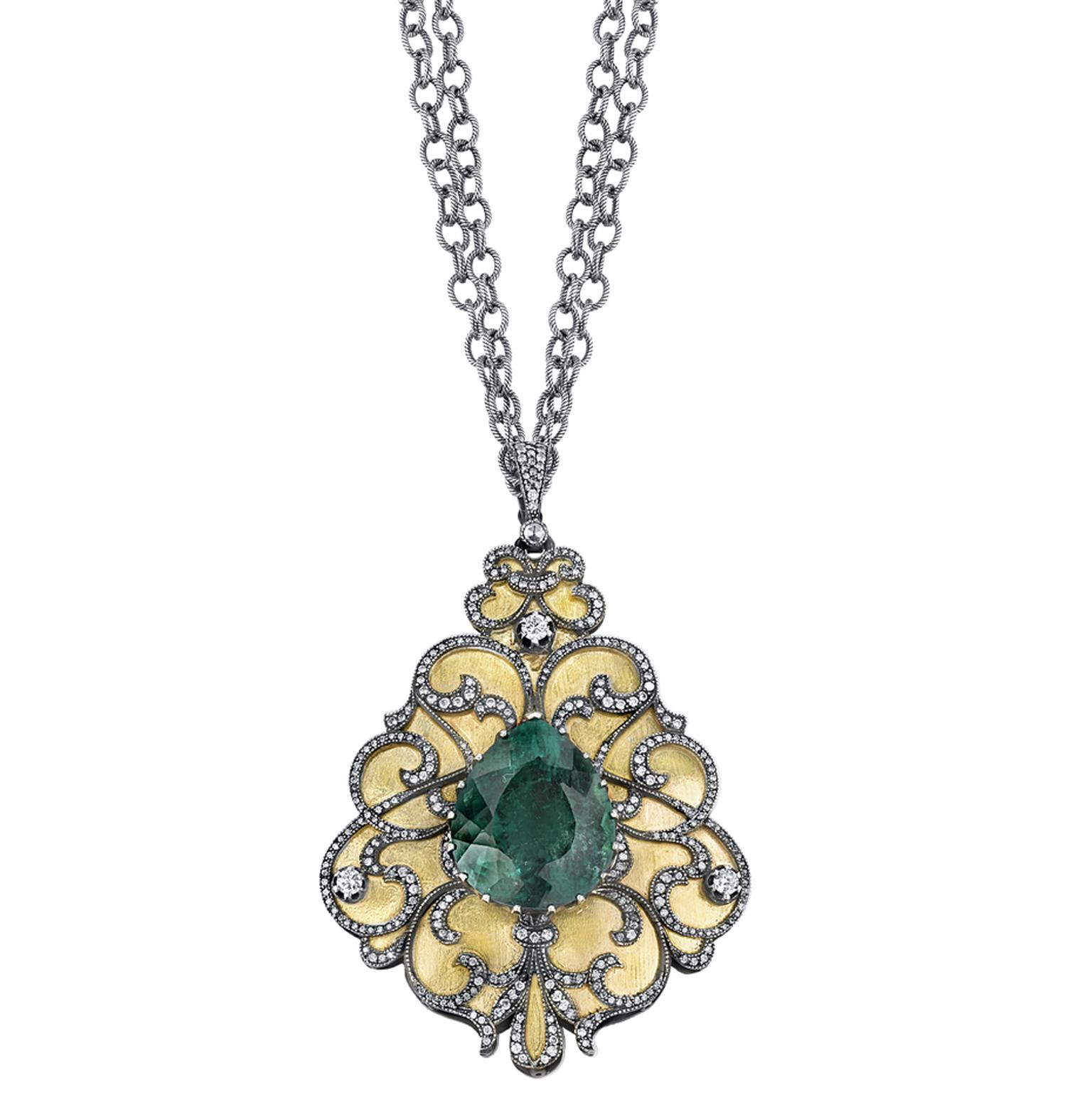 Arman Sarkisyan pendant with blue tourmaline, diamonds and oxidised silver