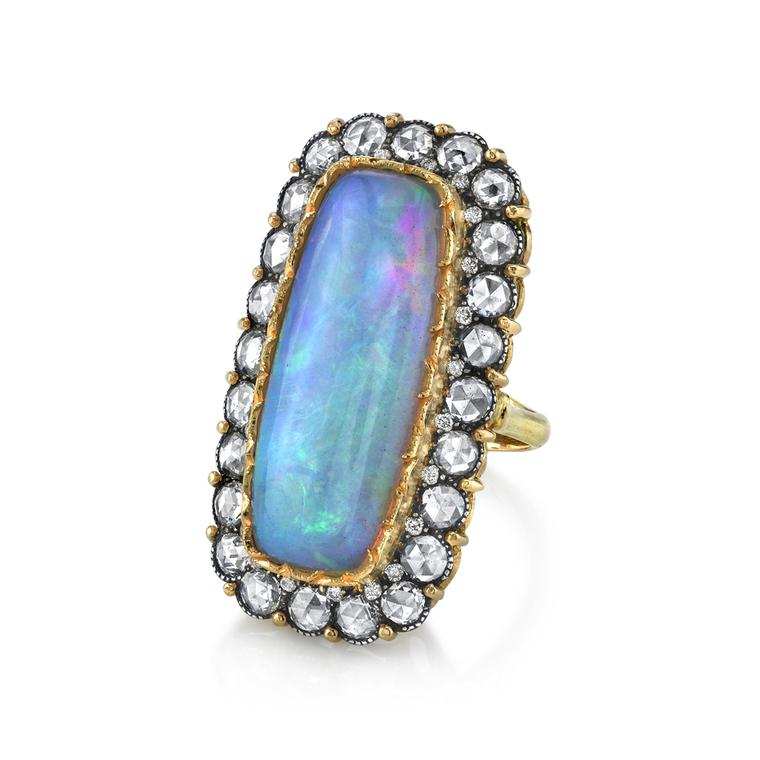 Arman Sarkisyan gold ring with opal, diamonds and oxidised silver