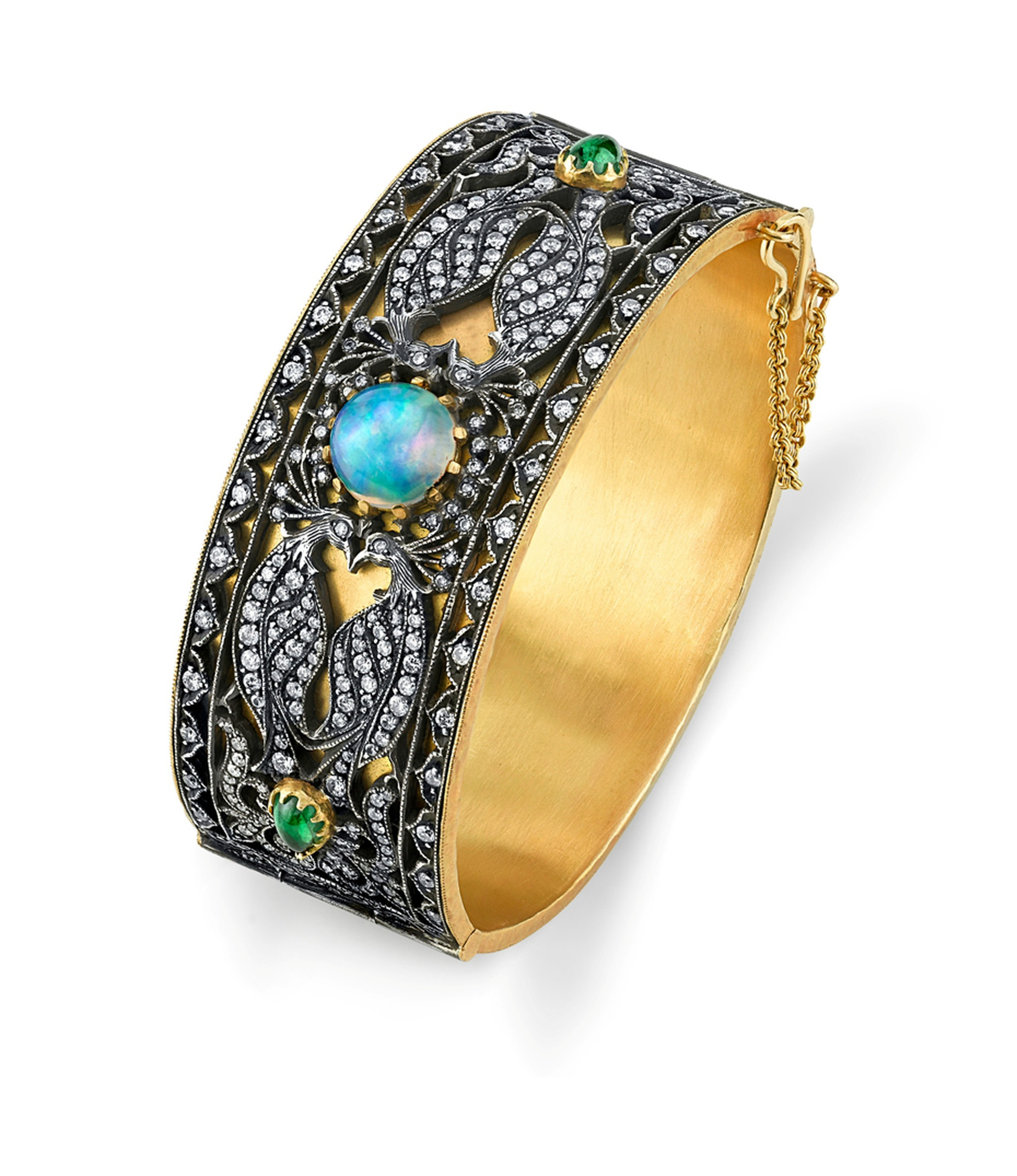 Arman Sarkisyan gold Peacock cuff with opal and oxidised silver