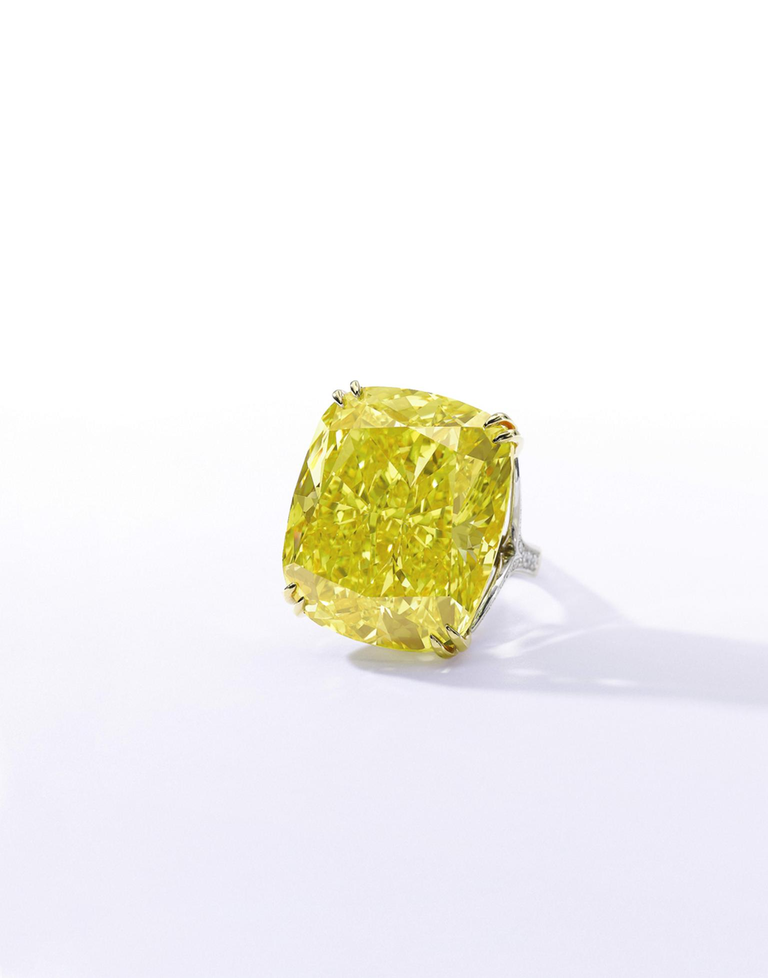 The 100.09ct Graff Vivid Yellow diamond features a Fancy Vivid Yellow, Natural Colour, VS2 Clarity diamond. Sold for CHF 14.5million (estimate: CHF 13.4- 22.3million). Image by: Sothebys.