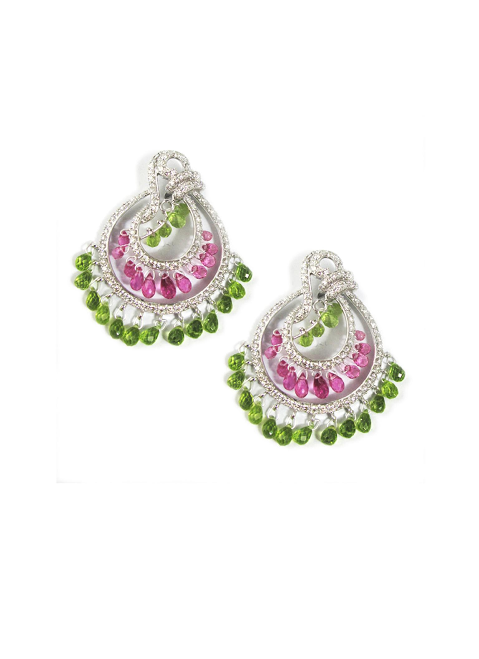 Mirari white gold earrings featuring peridot, rubellite and tourmaline drops.