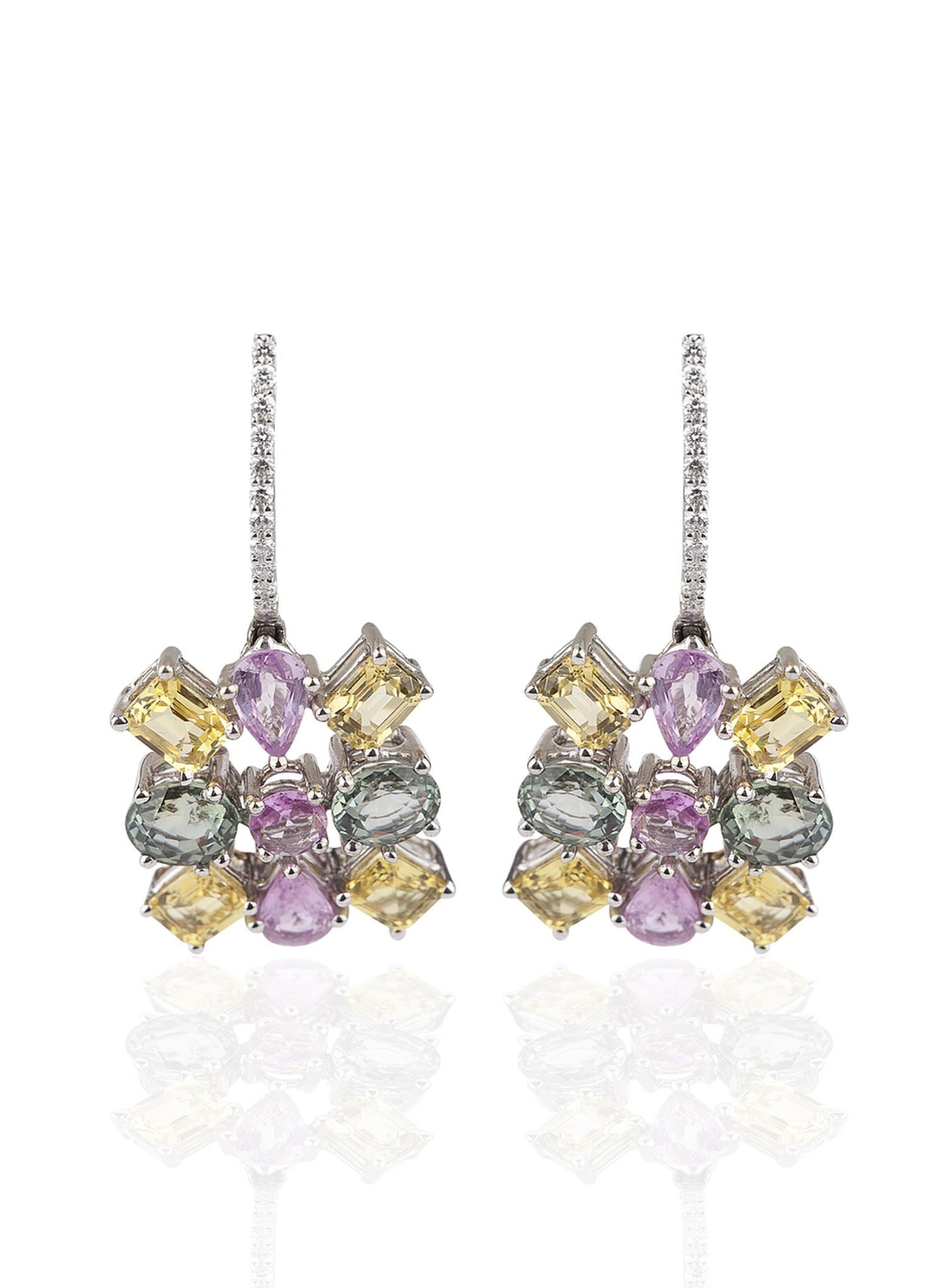 Mirari white gold Water fall earrings featuring pear and marquise cut multi-coloured sapphires and round white diamonds.