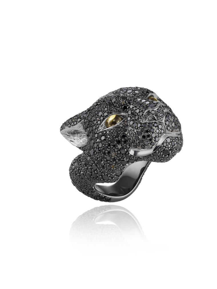 Harumi for Chopard Black Jaguar ring featuring a mixture of cognac and black diamonds