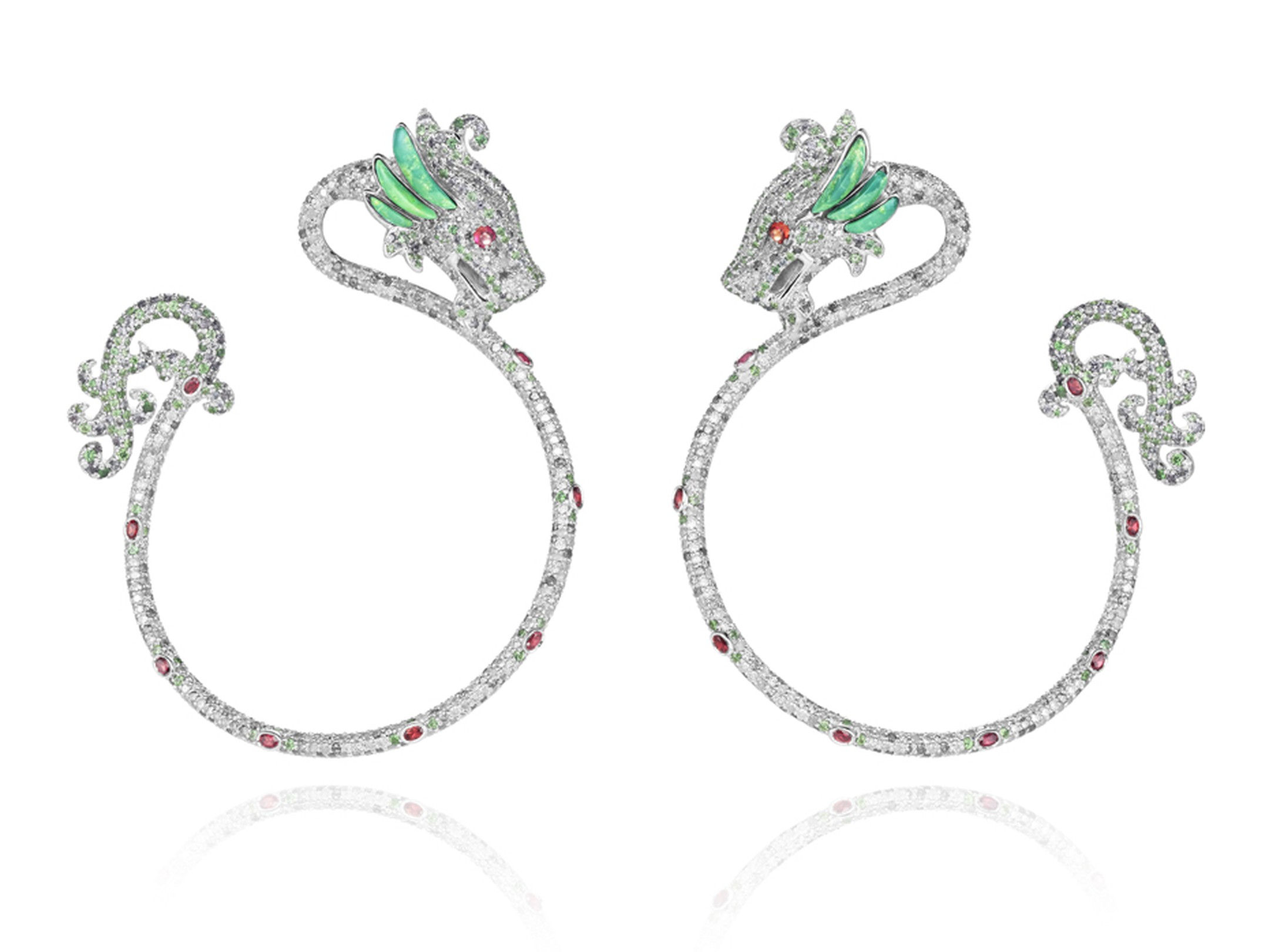Harumi for Chopard Dragon earrings with rubies, diamonds, emeralds and turquoise