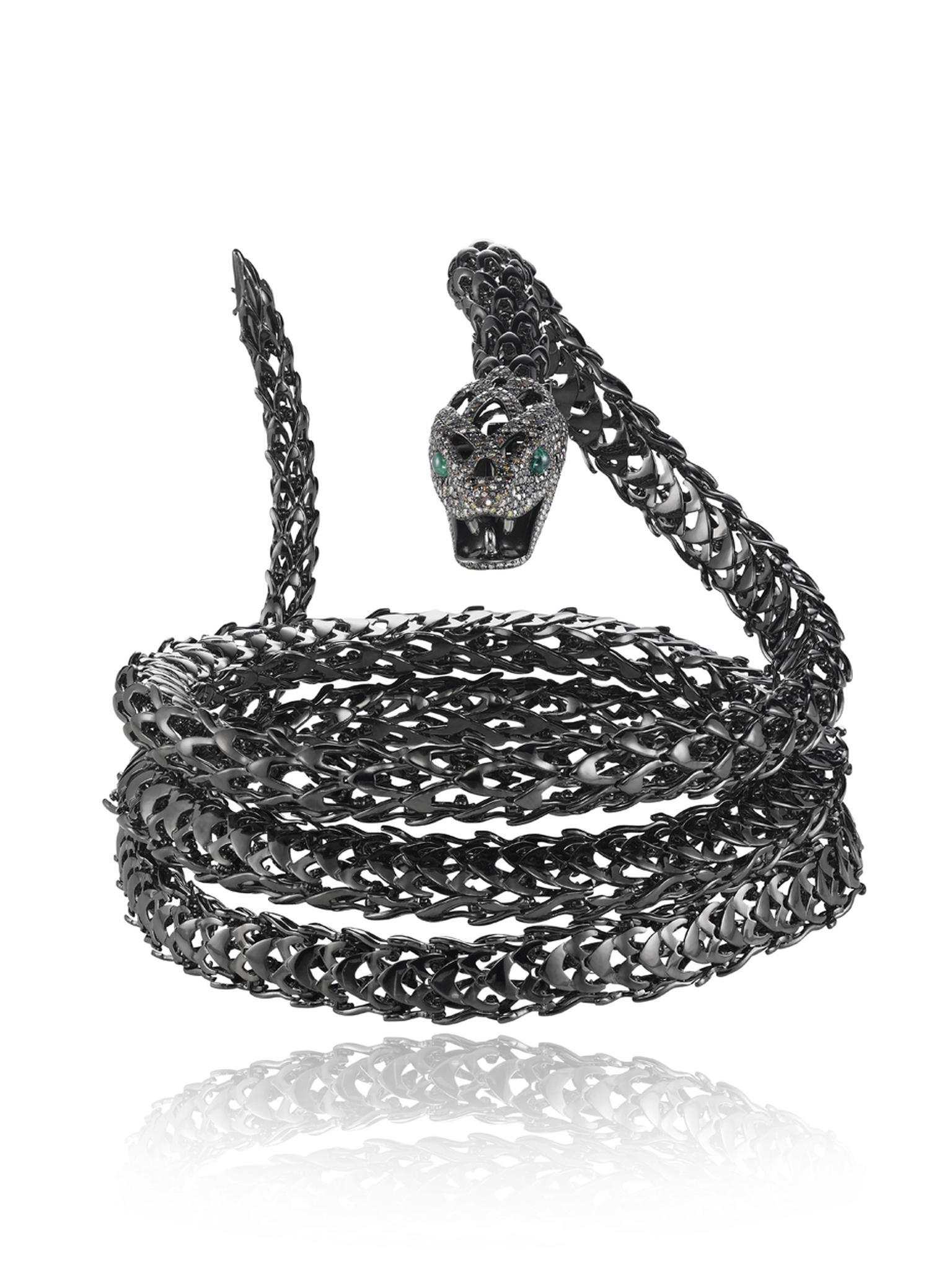 The Harumi for Chopard Mamba snake in blackened gold can be worn as a belt, bracelet, necklace or headpiece