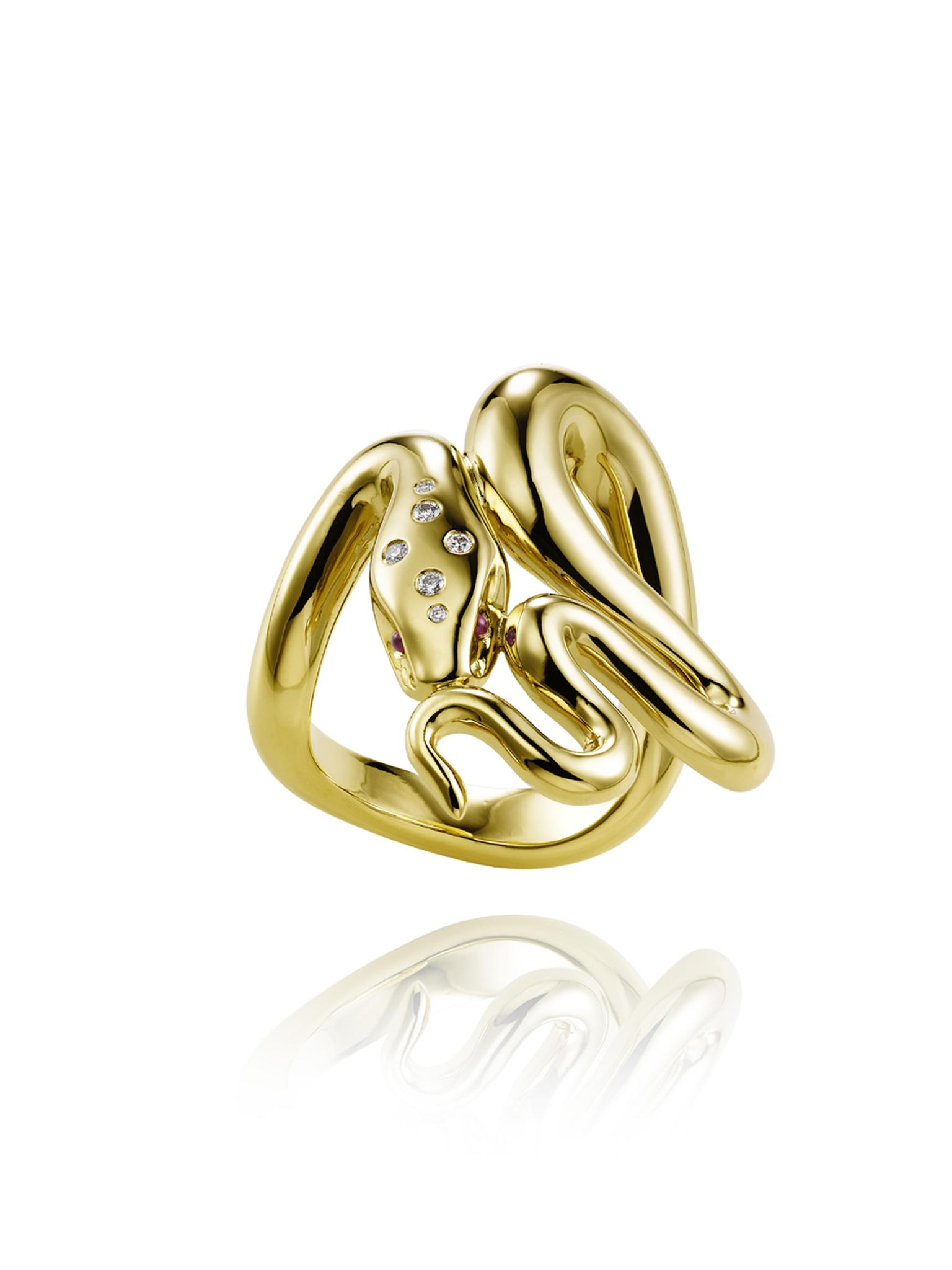 Harumi for Chopard gold Snake ring with diamonds