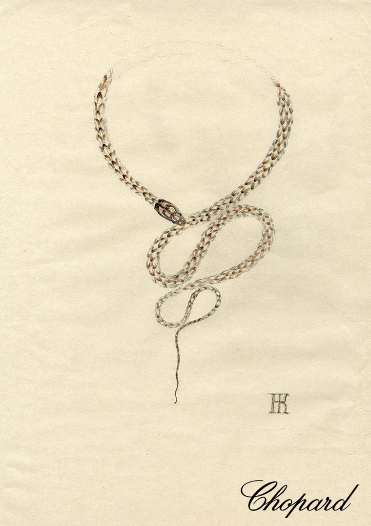 An original sketch of Harumi's Snake necklace for Chopard.