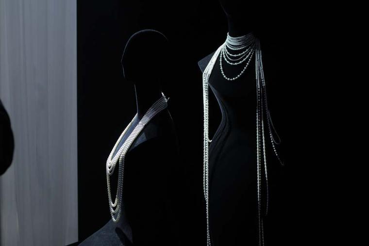 Mikimoto's Angelic Necklace drapes over the entire body in an elegant silhouette of pearls and diamonds