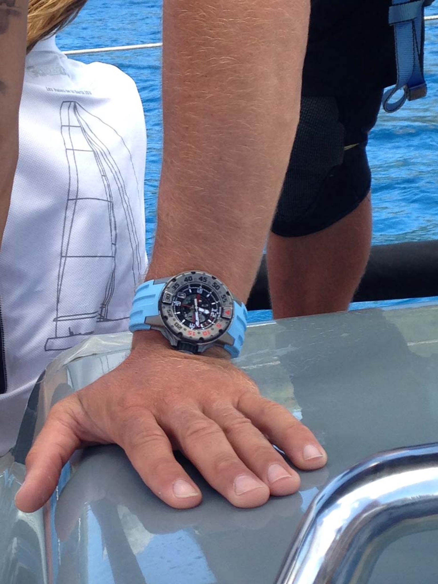 A Richard Mille RM 028 watch in action on board Jolt 2 at the Les Voiles de St Barth Regatta 2014