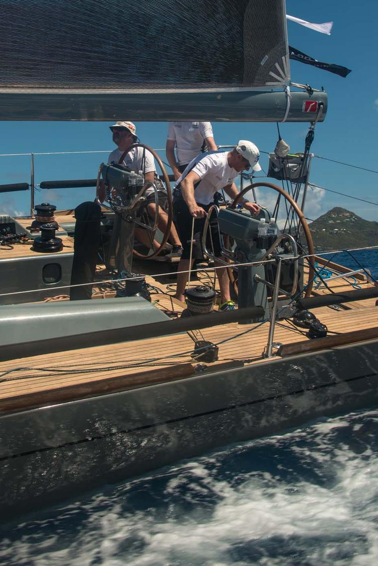Getting ready to tack on Jolt 2 during the Voiles de St Barths regatta 2014, sponsored by Richard Mille
