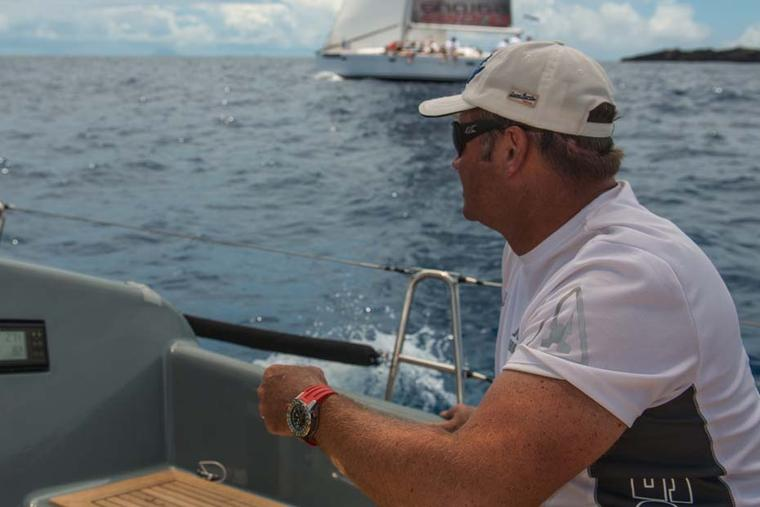 Tactician and Navigator on Jolt 2, Campbell Field, a professional yachtsman with over 20 years' experience, wears a Richard Mille RM 60-01 Flyback Chronograph Regatta
