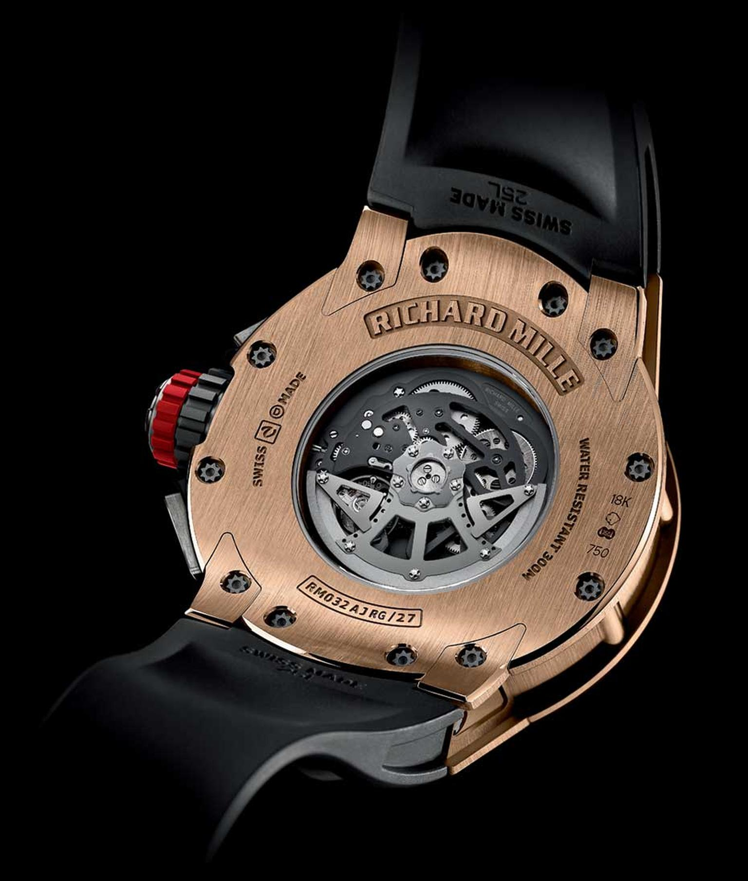 The reverse of the new Richard Mille RM 032 automatic chronograph diver's watch in red gold