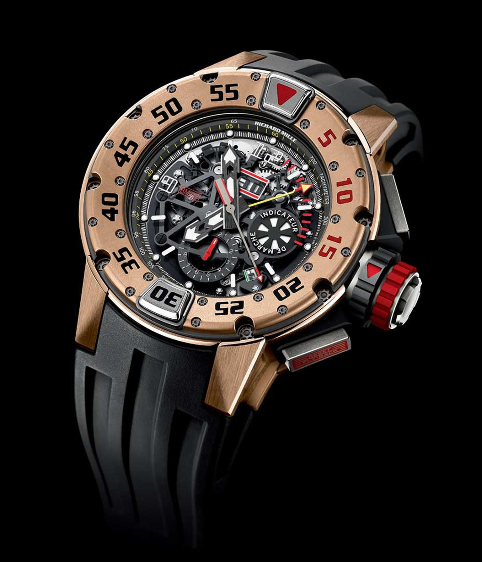 The new Richard Mille RM 032 automatic chronograph diver's watch in red gold