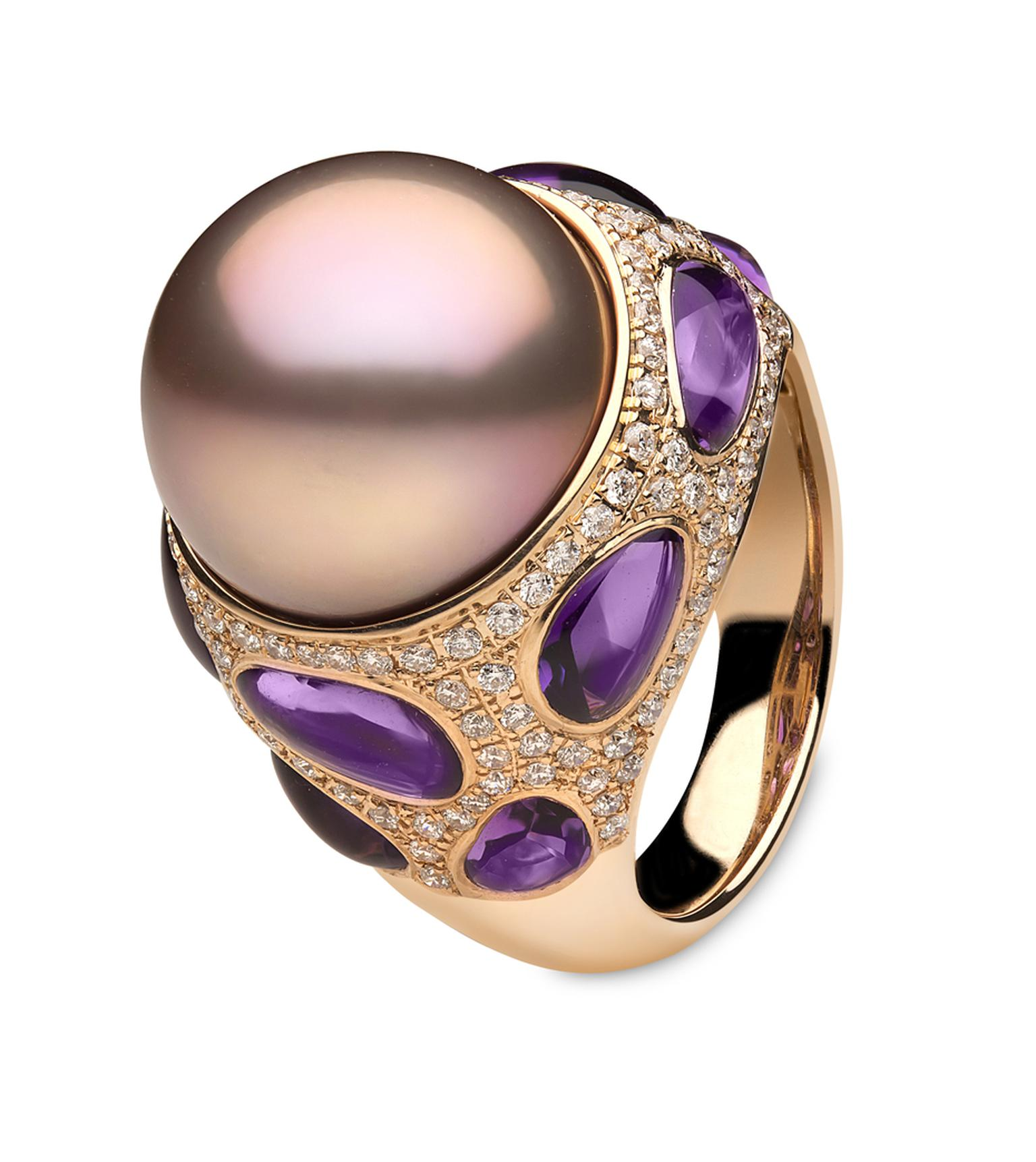 Yoko London Calypso collection rose gold ring featuring a pink freshwater pearl surrounded by amethysts and diamonds