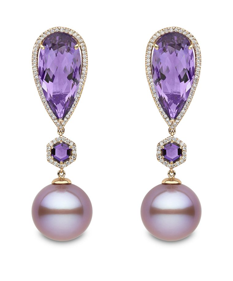 New to the Couture Show Las Vegas for 2014 is Yoko London with its rose gold earrings featuring pink freshwater pearls, amethysts and diamonds