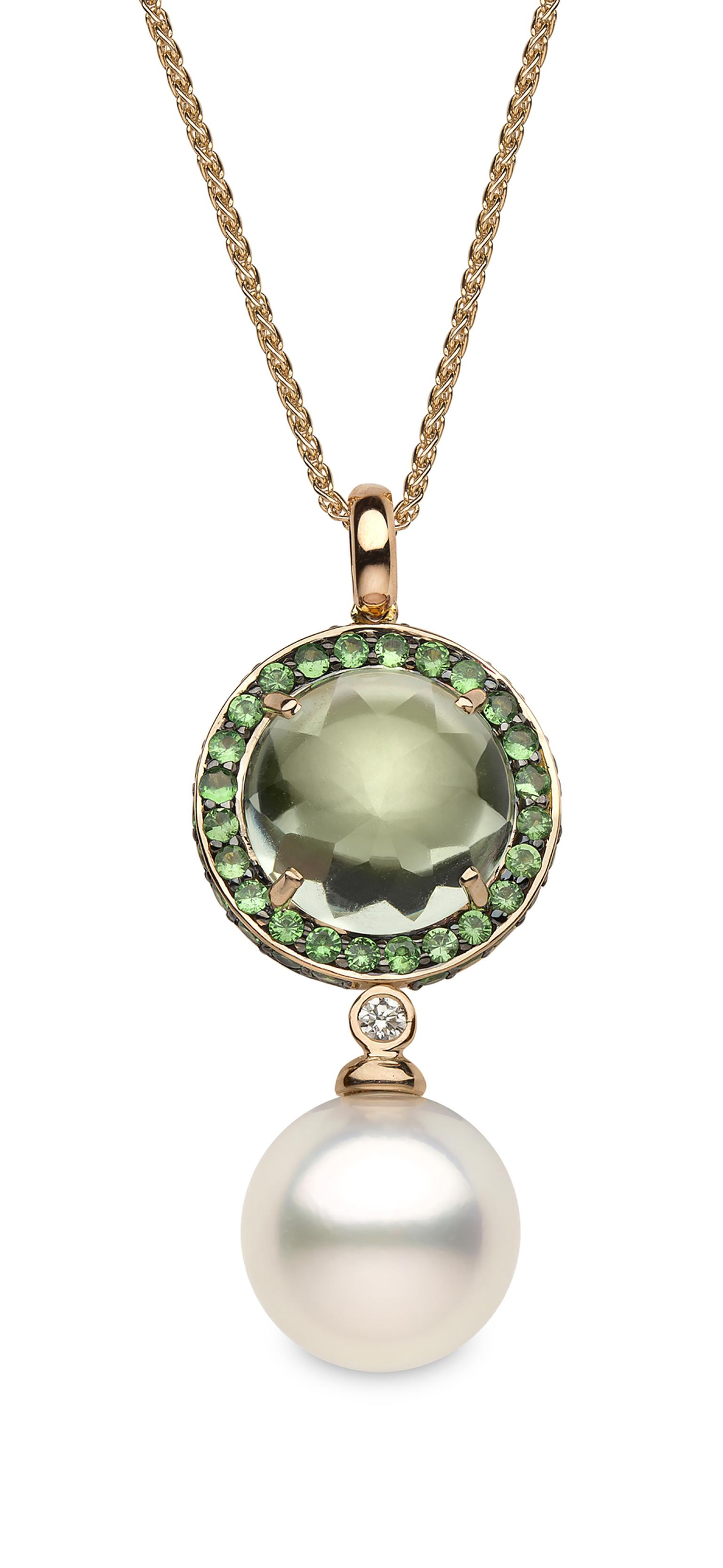 Yoko London rose gold pendant featuring a white Australian South Sea pearl, green amethysts, a central tsavorite and diamonds