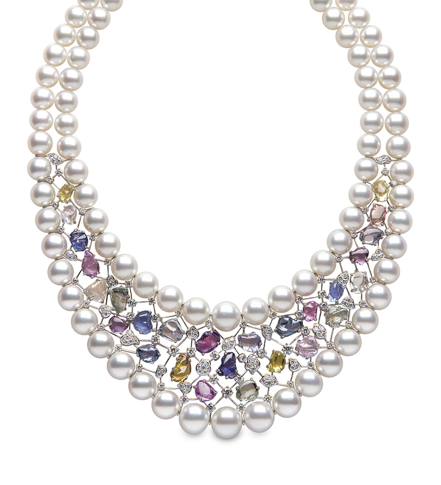 Yoko London white gold Aurora necklace from the Masterpiece collection featuring Australian South Sea pearls, multi-coloured sapphires and diamonds