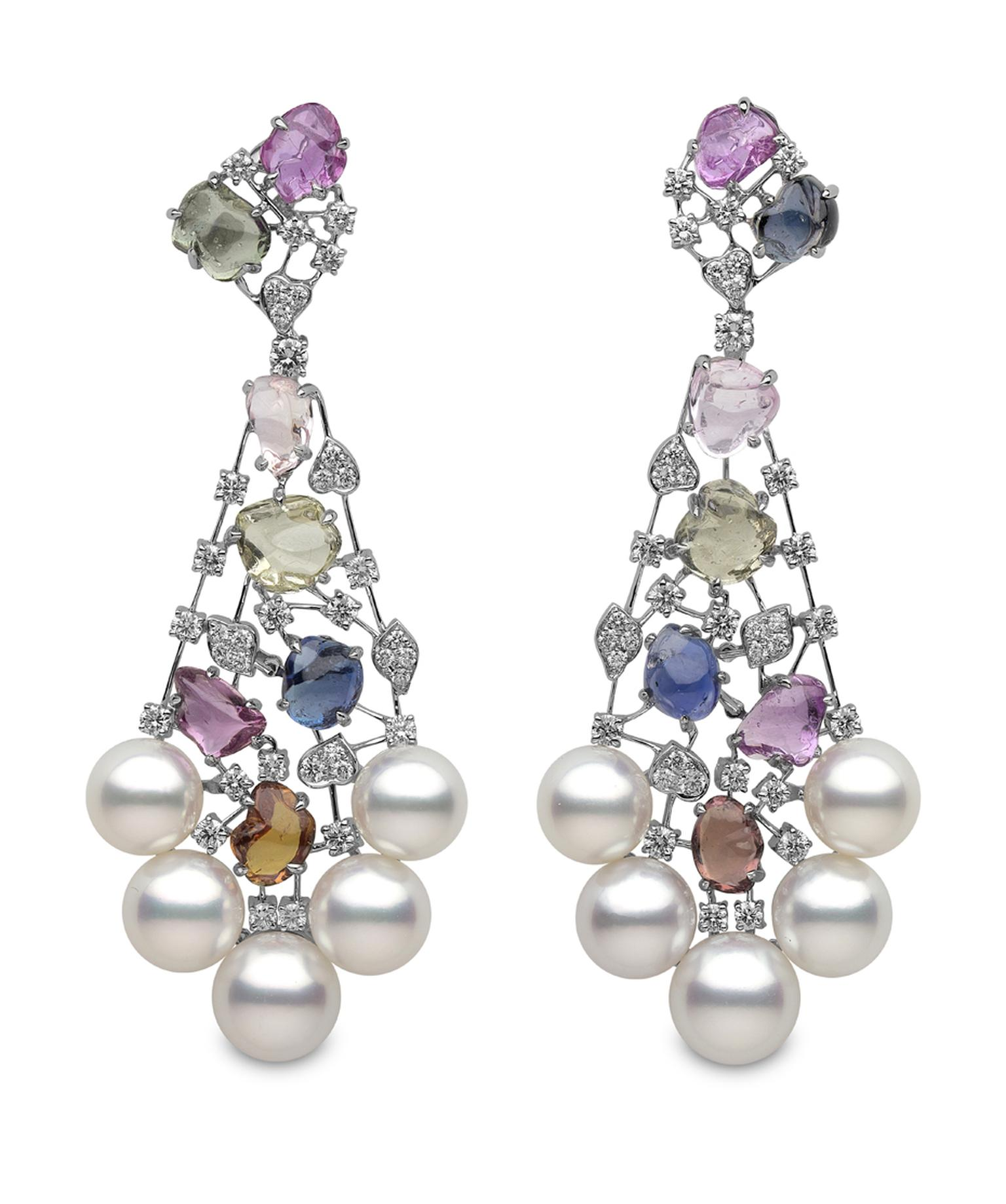 Yoko London white gold Aurora earrings from the Masterpiece collection, featuring Australian South Sea pearls, multi-coloured sapphires and diamonds