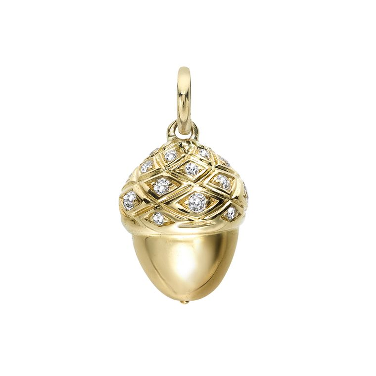 Asprey gold Acorn charm with diamonds (£2,900) from the Woodland jewellery collection, created in collaboration with Shaun Leane