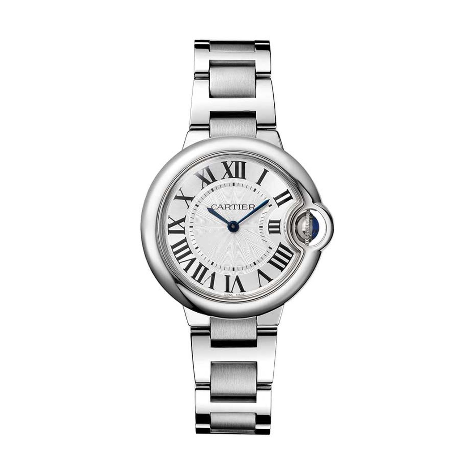 Cartier Ballon Bleu watch in stainless steel featuring a sapphire cabochon winding mechanism and guilloché dial (£3,300)