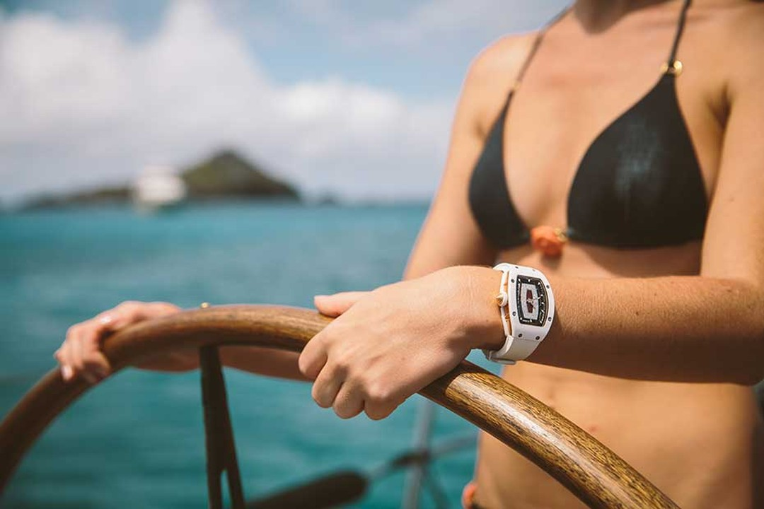 Sailing also has its glamorous side. Richard Mille watches and the new Richard Mille watches for women can effortlessly glide from serious performance to laidback chic