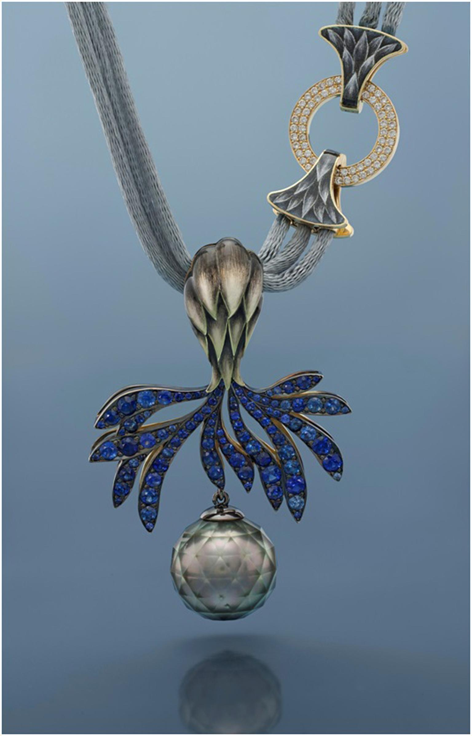 "Ilgiz F ""Thistle"" necklace with plique-à-jour enamelling, sapphires, diamonds and a faceted pearl"