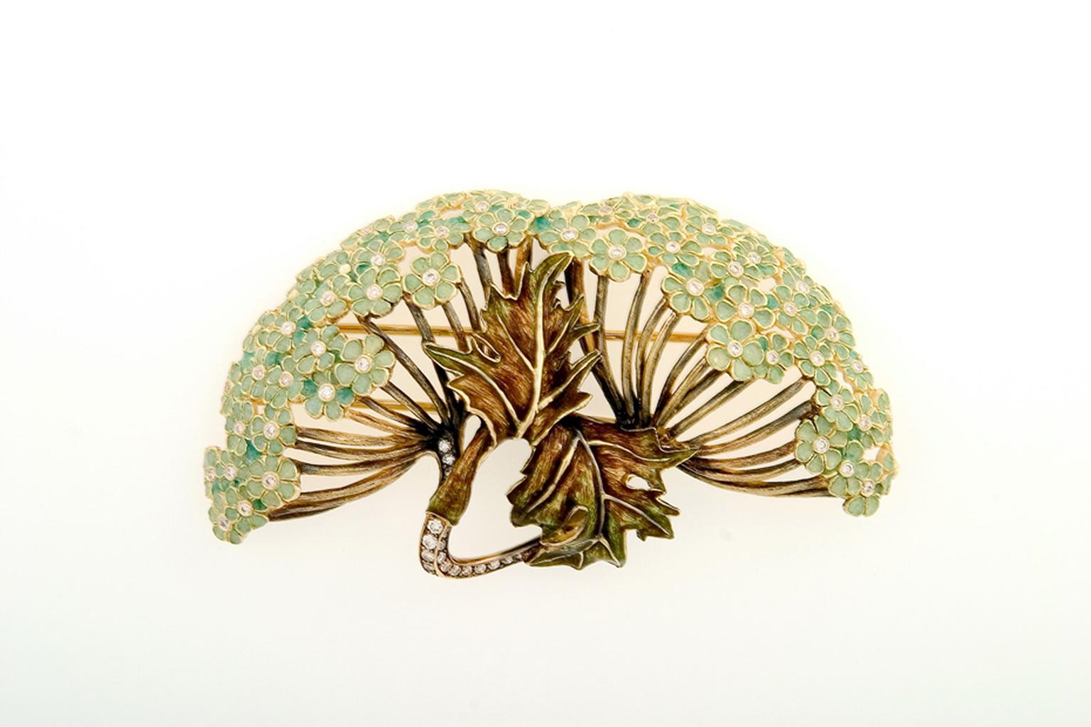 "Ilgiz F ""Hortense"" brooch with with champlevé enamelling"