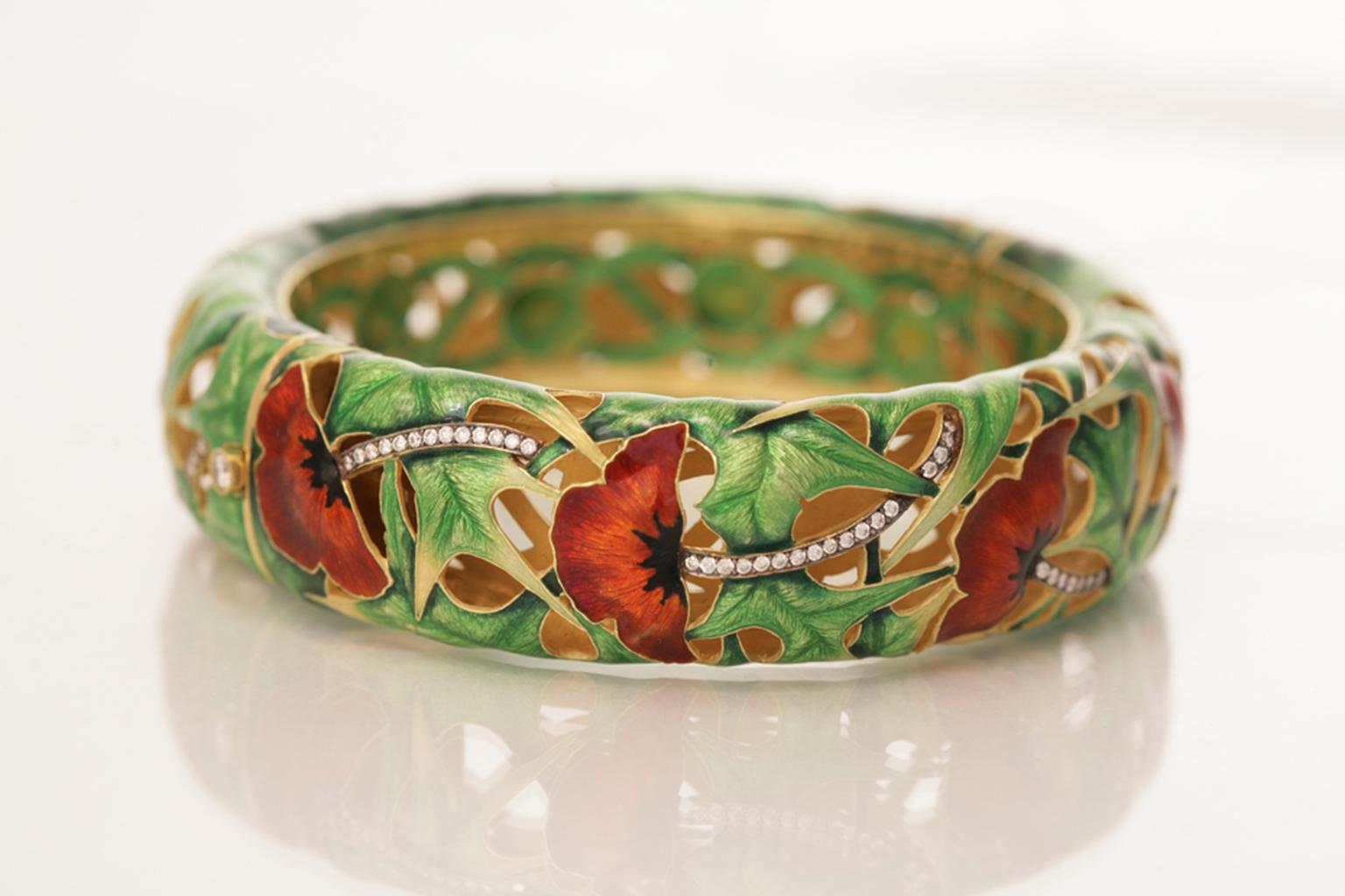"Ilgiz F enamelled ""Poppies"" bangle with diamonds"