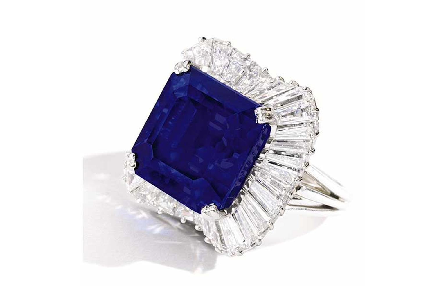 In April 2014, Sotheby's New York set a new world auction record price per carat for any sapphire when a 28.18ct Kashmir sapphire and diamond ring sold for $5,093,000, which is $180,731 per carat.
