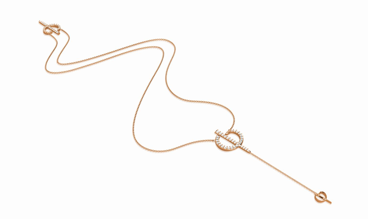 Phioro jewellery rose gold Rosary necklace with diamond pave.