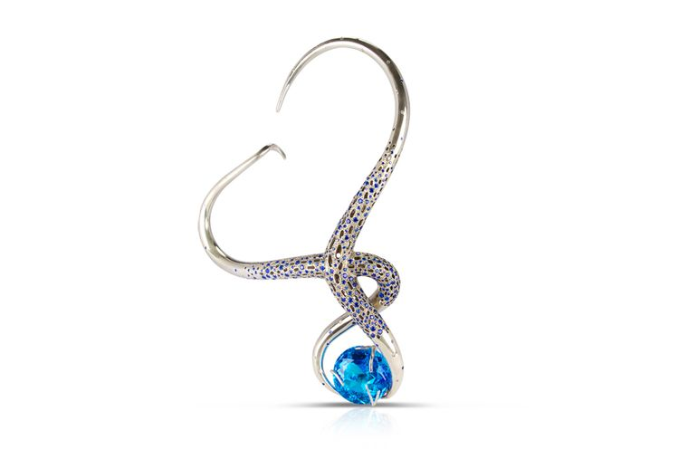 Phioro jewellery one-off Liana necklace with blue topaz.