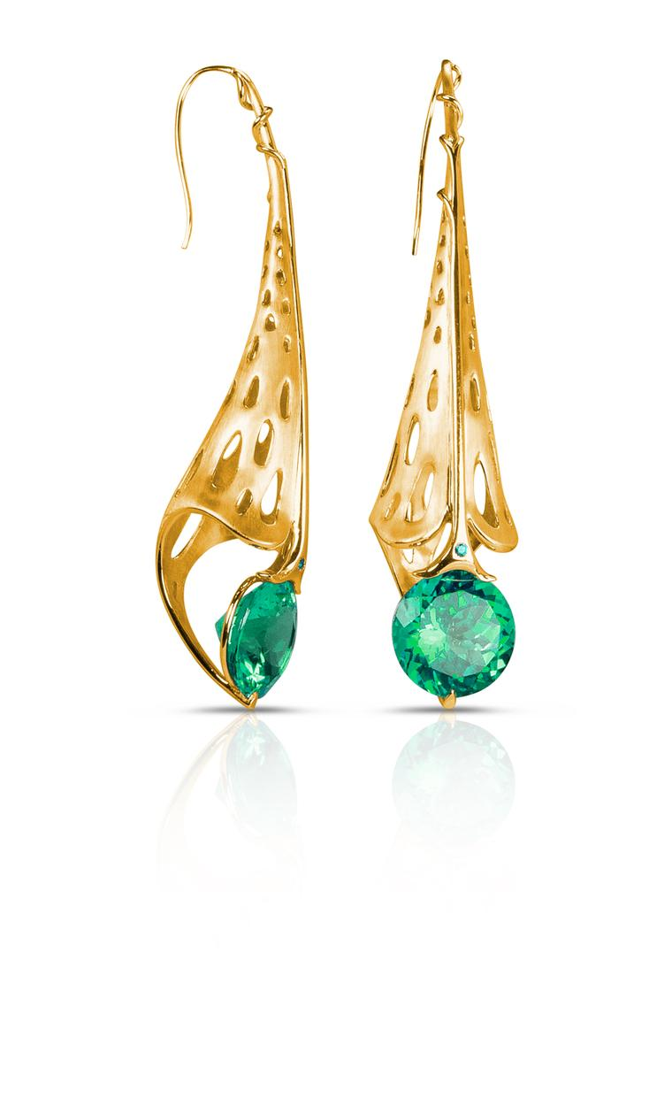 Phioro jewellery Azalea earrings with green topaz.