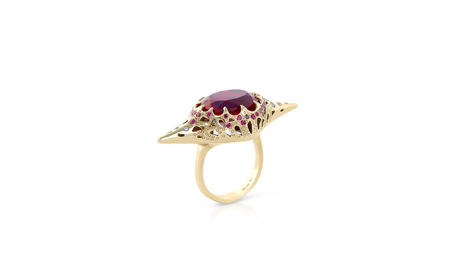 Phioro jewellery Venus Chatam ruby ring.