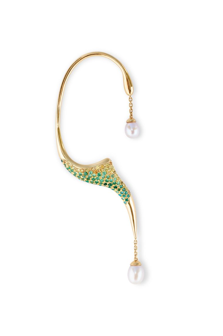 Phioro jewellery Aquaray earcuff with green peridot and yellow sapphires.