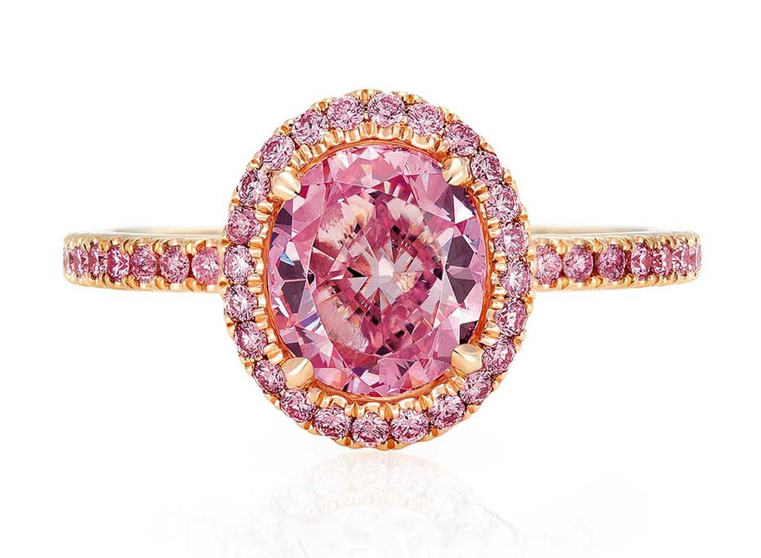 De Beers Aura pink diamond engagement ring in pink gold (£POA)