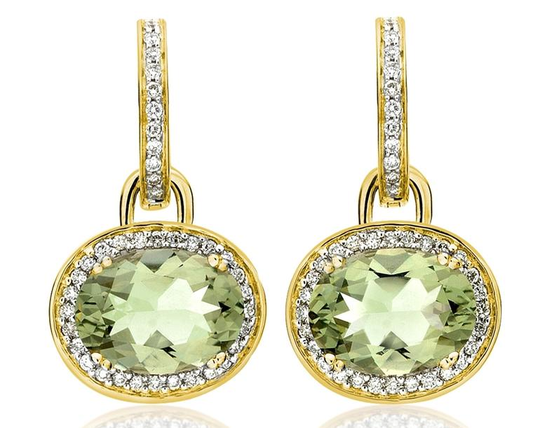 Kiki McDonough Kiki Classic earrings with diamonds and a pair of oval green amethysts (£2,600)