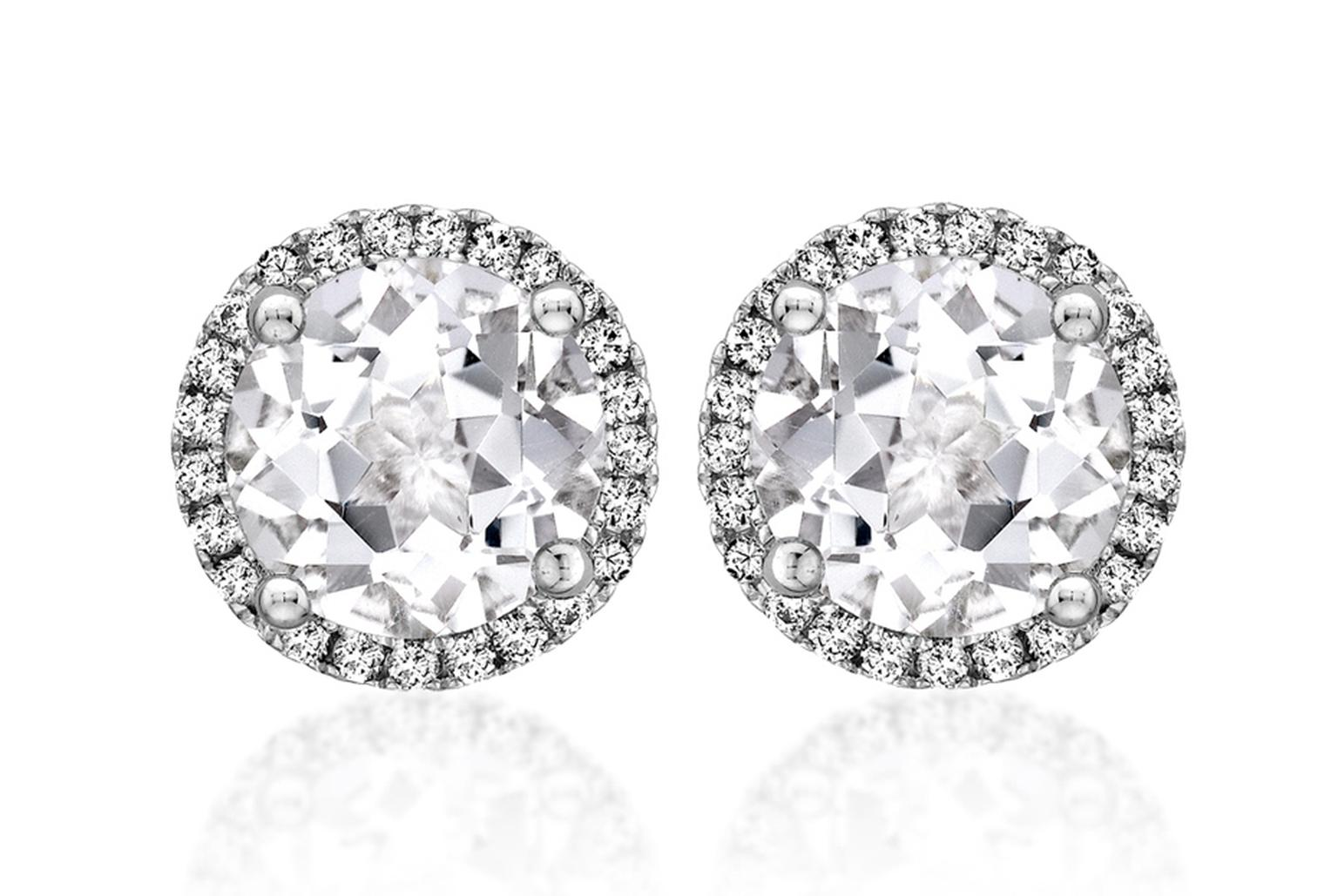 Kiki McDonough Grace studs with white topaz and diamonds (£695).