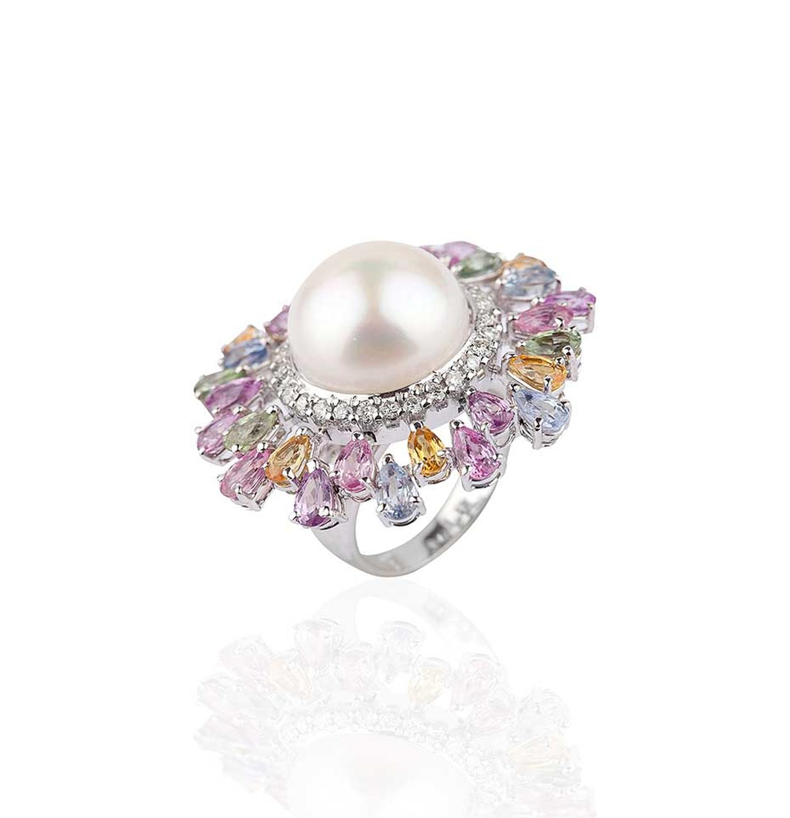 Mirari white gold ring with multi-coloured sapphires and white diamonds surrounding a freshwater pearl