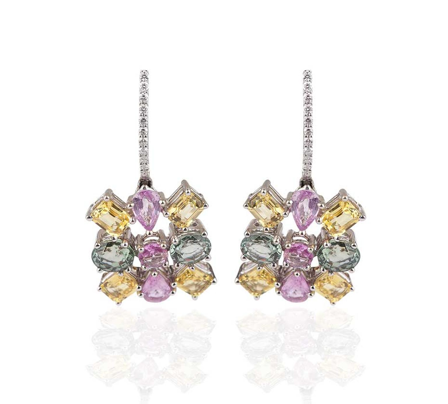 Mirari white gold earrings with multi-coloured sapphires