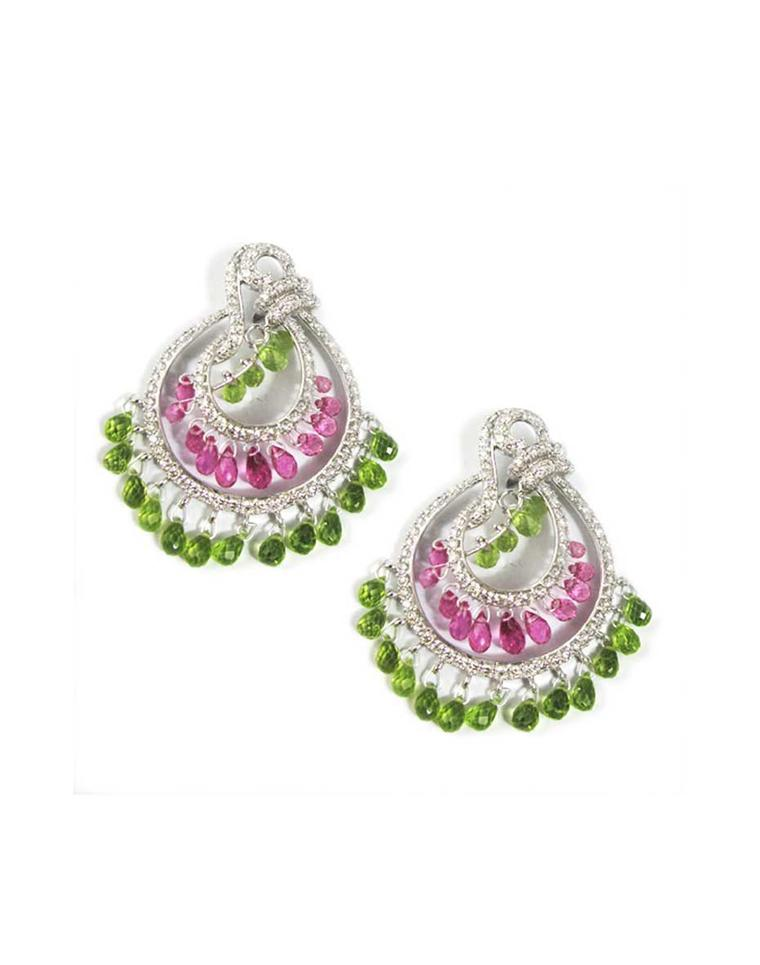 Mirari white gold earrings with peridot, rubellite and tourmaline drops.