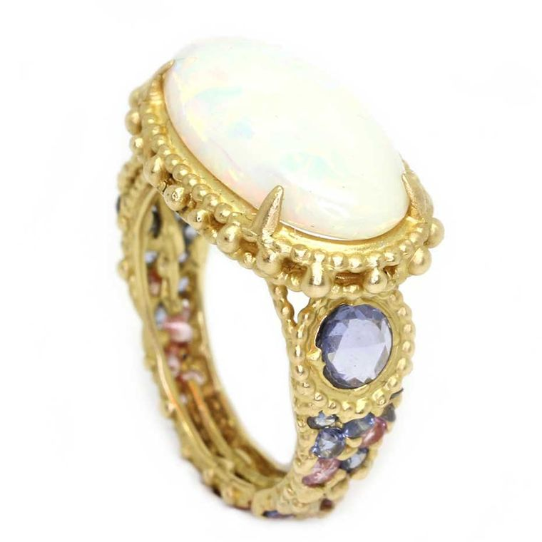 Polly Wales Ethiopian opal Rapunzel ring with sapphires in shades of lavender and pink (£POA)